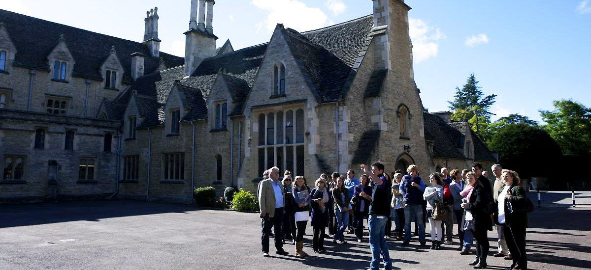 Prospective students and parents being shown the quad